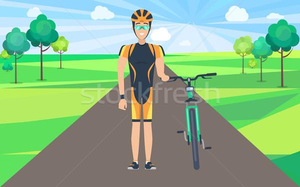 Man on Road Holding Bicycle Illustration Stock photo © robuart