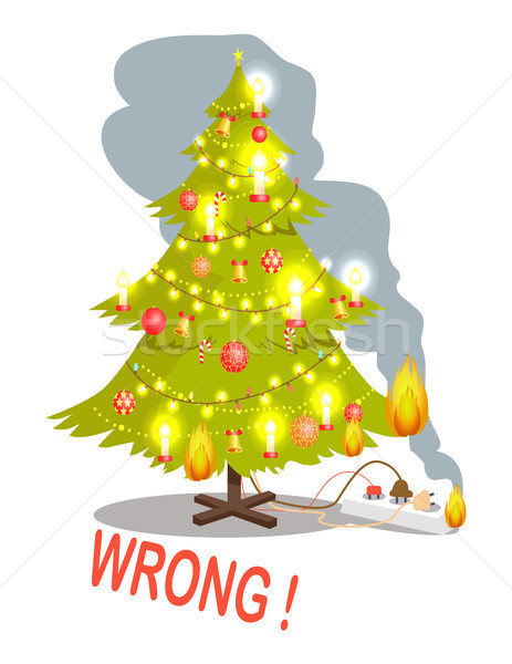Wrong Christmas Tree and Fire Vector Illustration Stock photo © robuart