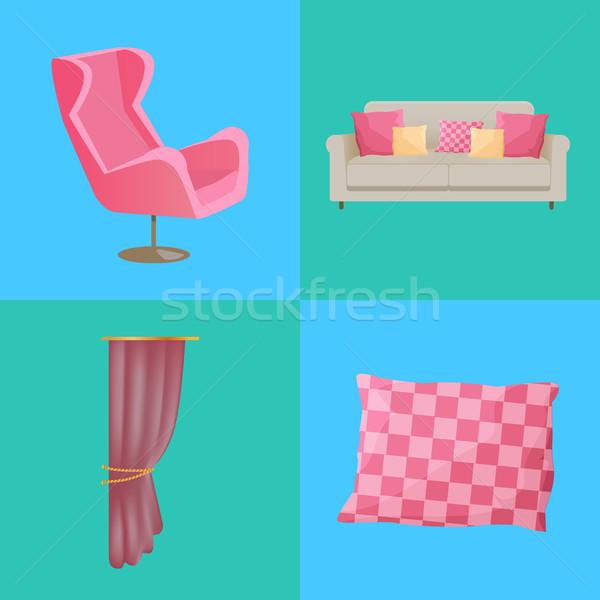 Sofa and Pillows Interior Set Vector Illustration Stock photo © robuart
