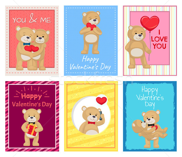 Adorable Plush Bears on Valentines Day Postcards Stock photo © robuart