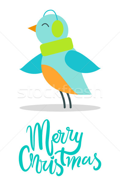 Merry Christmas Greeting Card Tiny Bird Earpieces Stock photo © robuart
