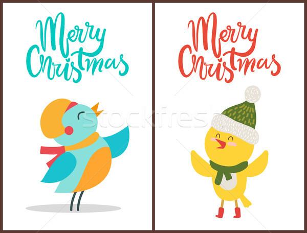 Allegro Natale manifesti congratulazione uccelli caldo Foto d'archivio © robuart