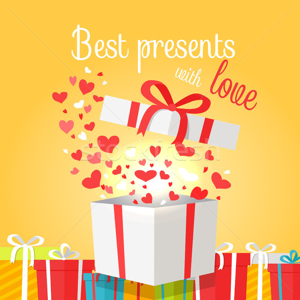 Best Presents with Love on Yellow Background. Stock photo © robuart