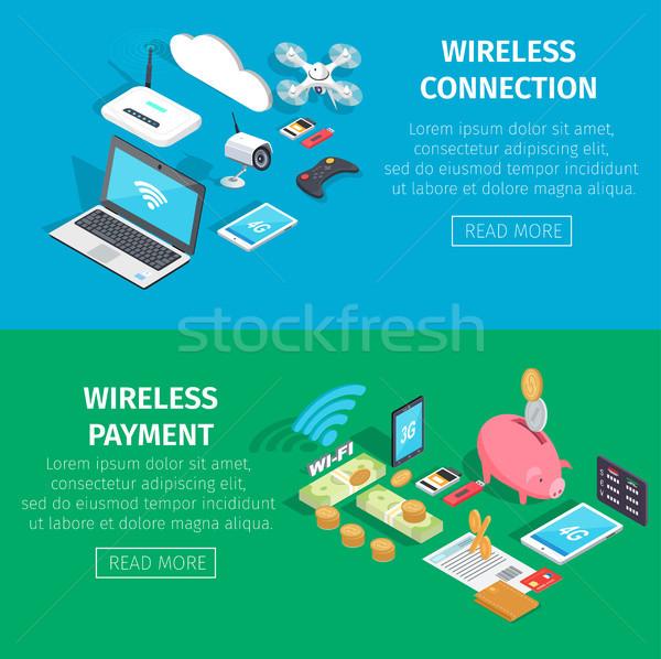 Inalámbrica conexión pago información página moderna Foto stock © robuart