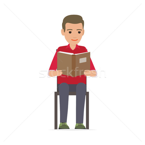 Relaxing Process of Man Reading Published Edition Stock photo © robuart