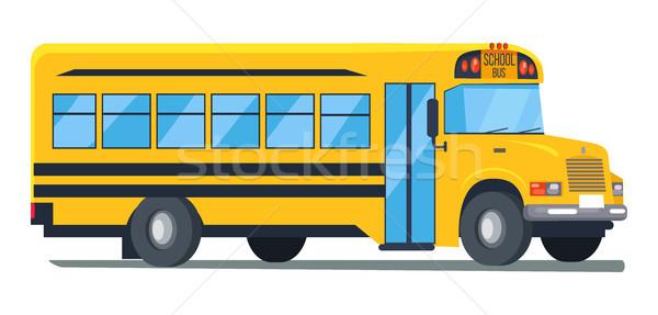 アイコン スクールバス 孤立した 実例 白 黄色 ストックフォト © robuart