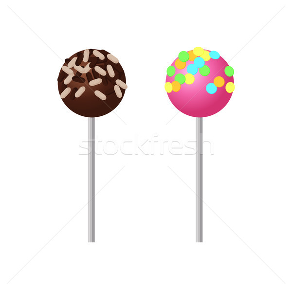 Sweet Strawberry Lollipop with Colorful Sprinkles Stock photo © robuart