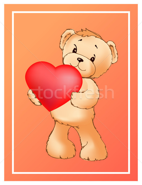 Poster with Cute Teddy Bear Holding Heart Balloon Stock photo © robuart