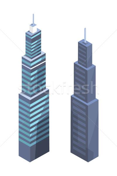 High-tech Skyscrapers Design, Modern Real Estate Stock photo © robuart