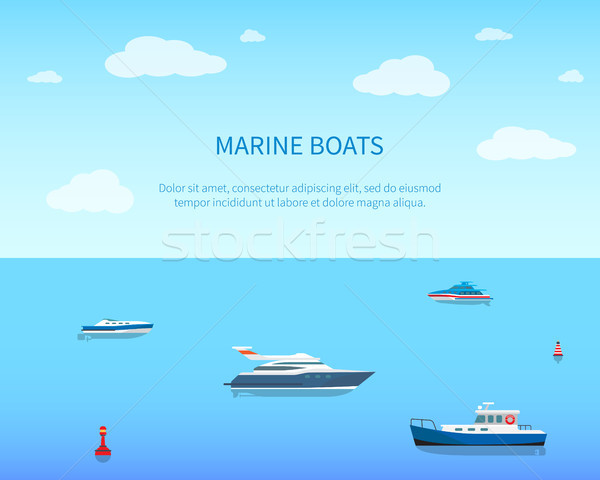Marine Boats Bright Color Card Vector Illustration Stock photo © robuart
