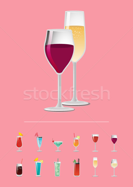 Different Alcohol Drinks Isolated on Pink Backdrop Stock photo © robuart