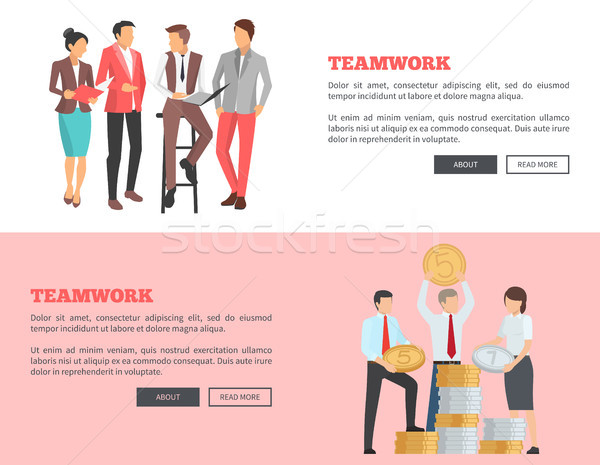Teamwork Collection of Cartoon Posters with Text Stock photo © robuart