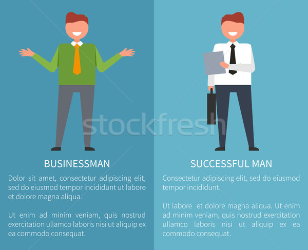 Successful Businessman Set of Posters on Blue Stock photo © robuart