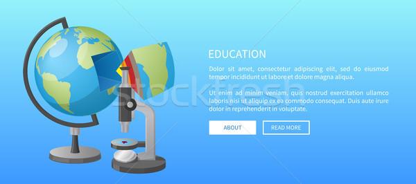 Oktatás szalag földgömb modell mikroszkóp háló Stock fotó © robuart