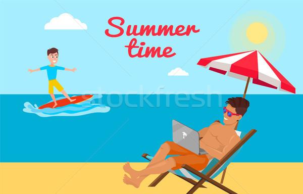 Nyár idő poszter szabadúszó dolgozik laptop Stock fotó © robuart