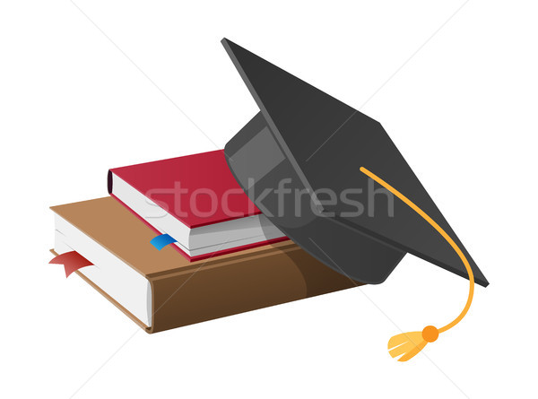 Square Academic Hat with Tassel on Pile of Books Stock photo © robuart