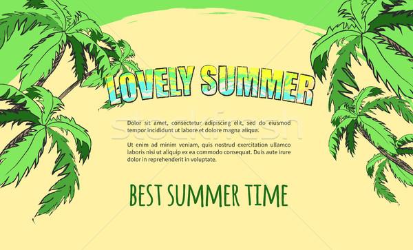 Sommer Banner Inschrift farbenreich Palmen herum Stock foto © robuart