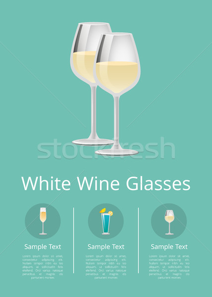 White Wine Glasses Poster with list Alcohol Drinks Stock photo © robuart