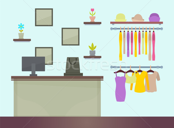 Cute Female Clothing Store Vector Illustration Stock photo © robuart