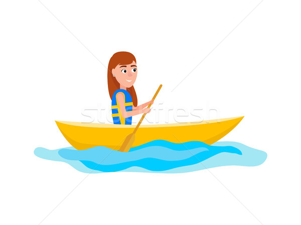 Kayaking Girl Sitting in Boat Vector Illustration Stock photo © robuart