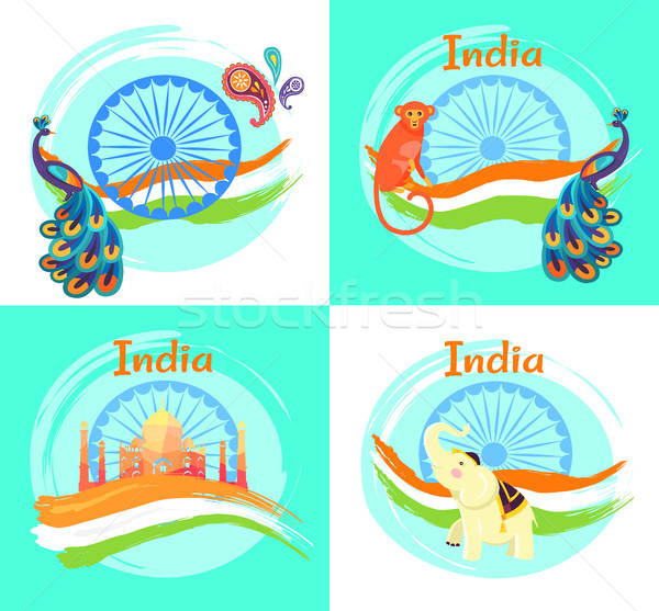 Famous India Symbols on Set of Bright Posters Stock photo © robuart