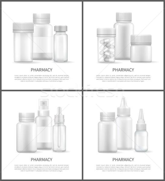 Pharmacy Pills in Bottles Set Vector Illustration Stock photo © robuart