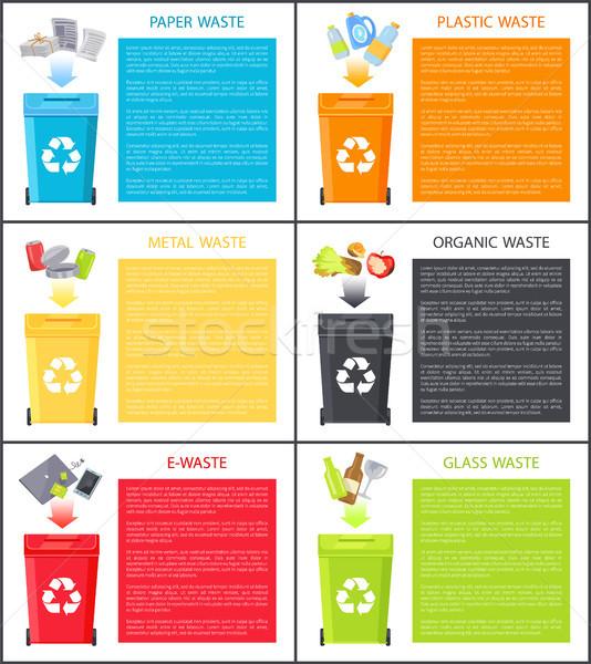 Farklı atık simgeler üzerinde çöp renk Stok fotoğraf © robuart