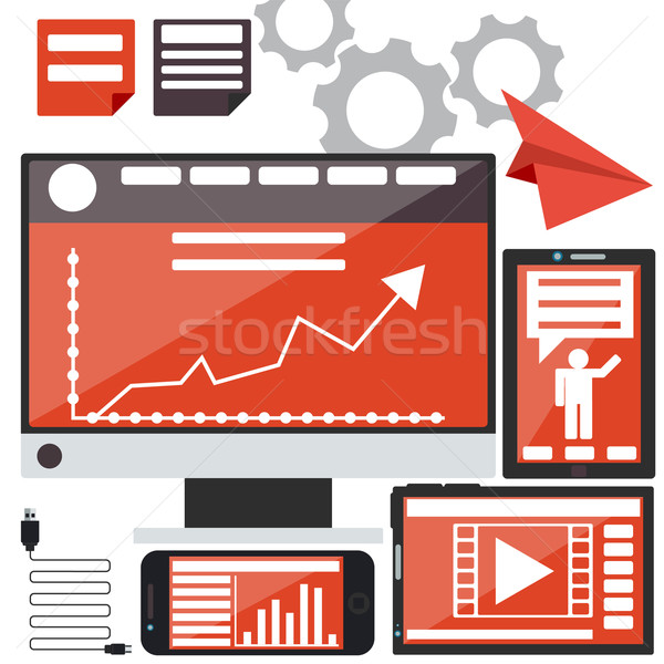 Számítógépek okostelefon táblagép grafikonok üzlet hírek Stock fotó © robuart