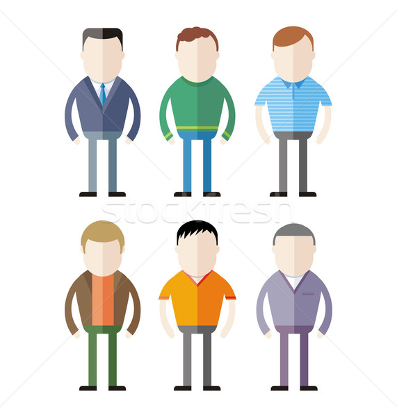 Set of male fashion silhouettes Stock photo © robuart