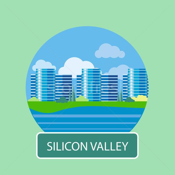 Kantoorgebouw silicium vallei teken poster cartoon Stockfoto © robuart
