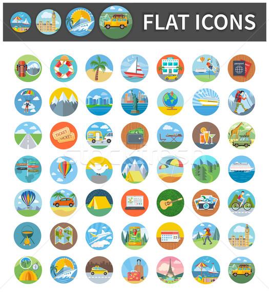 Icons of Traveling, Vacation, Tourism, Journey Stock photo © robuart