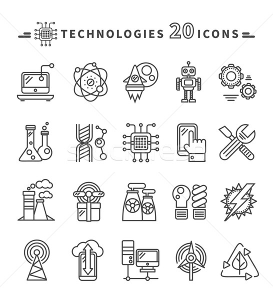 Technologies Black Icons on White Background Stock photo © robuart