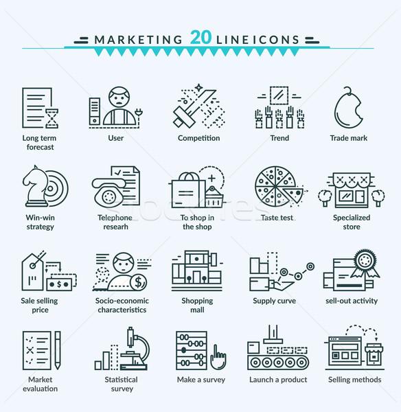 Thin Lines Web Icons Set of Marketing Stock photo © robuart