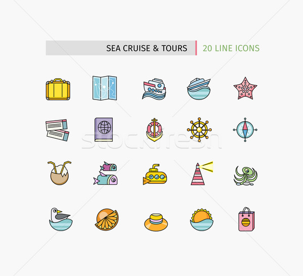 Set of Thin Lines Icons Sea Cruise and Tour Stock photo © robuart