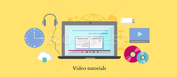 Videó tutorial ikon terv stílus online Stock fotó © robuart