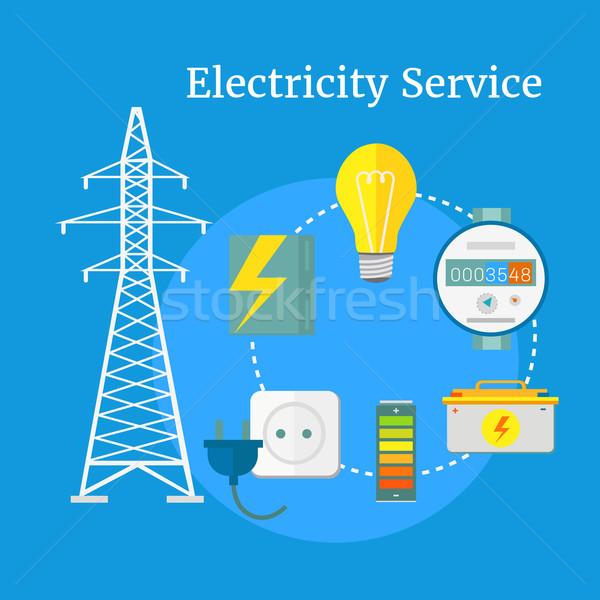 Electricity Service Flat Design Stock photo © robuart