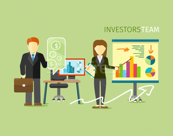 Investors Team People Group Flat Style Stock photo © robuart