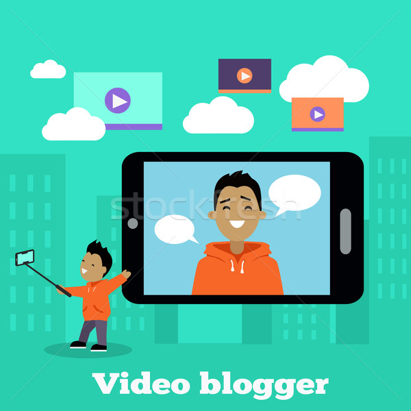Boy Video Blogger with Smart Phone Stock photo © robuart