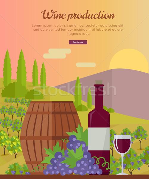 Bor gyártás szalag poszter piros szőlő Stock fotó © robuart