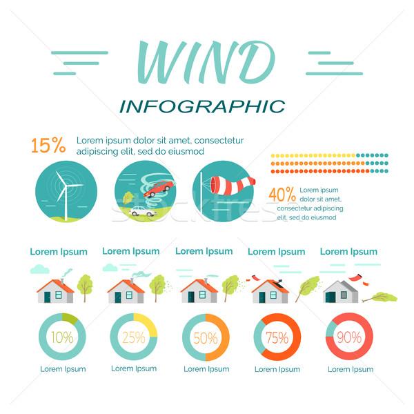 Minimalny środkowy ekstremalnych wiatr infografiki tornado Zdjęcia stock © robuart