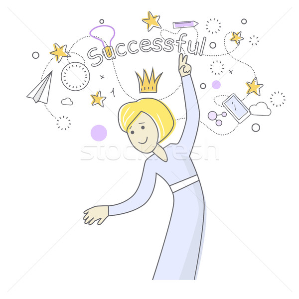 Successful Business Woman Dancing. Queen of Office Stock photo © robuart