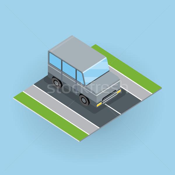 Autó út illusztráció izometrikus vetítés dzsip Stock fotó © robuart