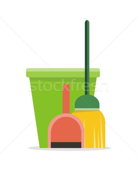 Web afiş kova süpürge ikon temizlik Stok fotoğraf © robuart