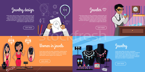 Jewelry Design, Jeweler, Women in Jewels Banner Stock photo © robuart