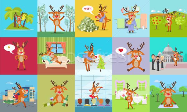 Deer Daily Activity Vector Set. Reindeer Emotions Stock photo © robuart