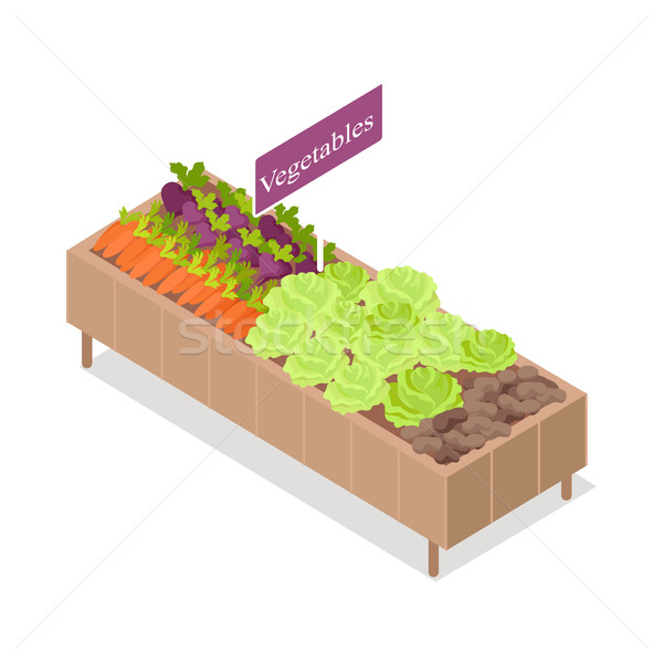 Vegetable Stand Isolated Products in Grocery Store Stock photo © robuart