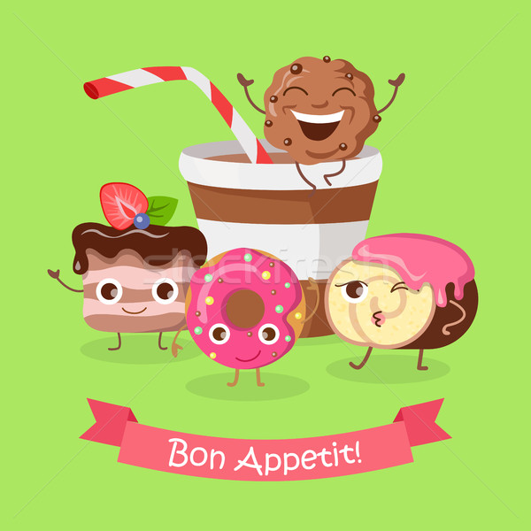 Bon Appetit. Funny Cartoon Characters Banner. Stock photo © robuart