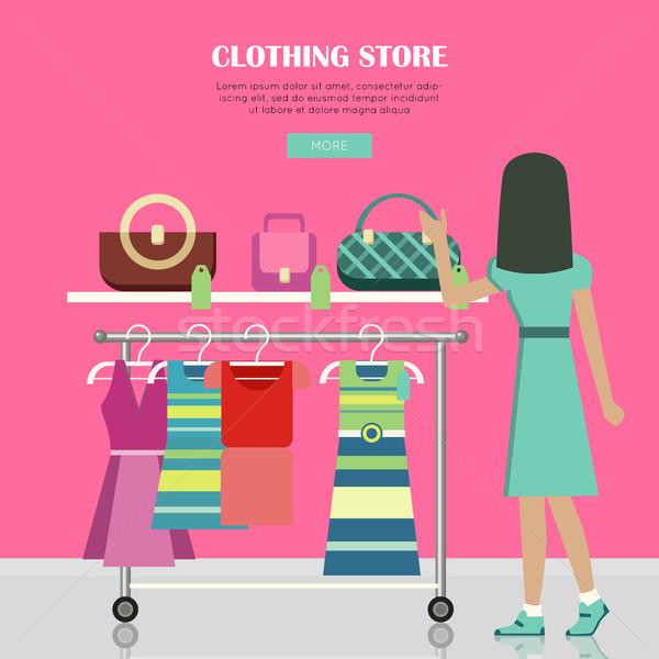 Stock fotó: Ruházat · bolt · szett · nők · ruházat · szerkeszthető