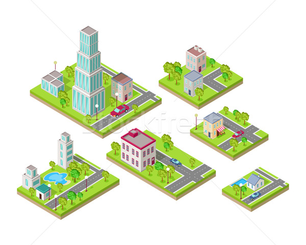 Isometric City Buildings Vector Set. Isometry Stock photo © robuart