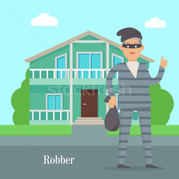 Robber Near Cottage House. Thief with Bag of Money Stock photo © robuart